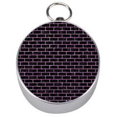 Brick1 Black Marble & Purple Glitter (r) Silver Compasses by trendistuff