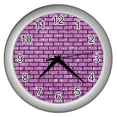 Brick1 Black Marble & Purple Glitter Wall Clocks (silver)  by trendistuff