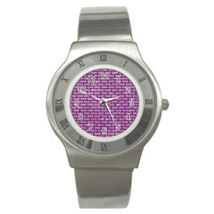Brick1 Black Marble & Purple Glitter Stainless Steel Watch by trendistuff