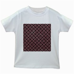Woven2 Black Marble & Pink Glitter (r) Kids White T Shirts by trendistuff