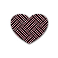 Woven2 Black Marble & Pink Glitter (r) Rubber Coaster (heart)