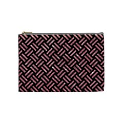 Woven2 Black Marble & Pink Glitter (r) Cosmetic Bag (medium)  by trendistuff