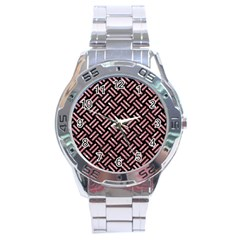 Woven2 Black Marble & Pink Glitter (r) Stainless Steel Analogue Watch by trendistuff