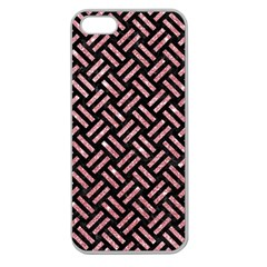 Woven2 Black Marble & Pink Glitter (r) Apple Seamless Iphone 5 Case (clear) by trendistuff