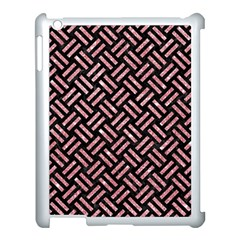 Woven2 Black Marble & Pink Glitter (r) Apple Ipad 3/4 Case (white) by trendistuff