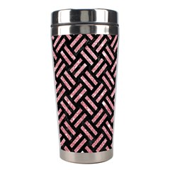 Woven2 Black Marble & Pink Glitter (r) Stainless Steel Travel Tumblers by trendistuff