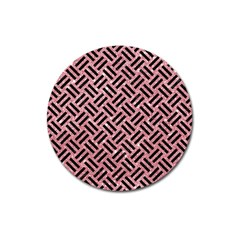 Woven2 Black Marble & Pink Glitter Magnet 3  (round) by trendistuff