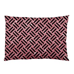 Woven2 Black Marble & Pink Glitter Pillow Case by trendistuff