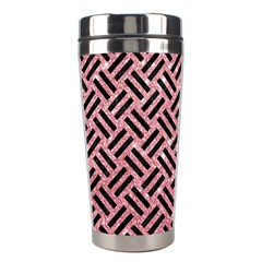 Woven2 Black Marble & Pink Glitter Stainless Steel Travel Tumblers by trendistuff