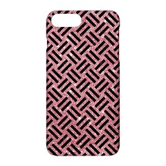 Woven2 Black Marble & Pink Glitter Apple Iphone 8 Plus Hardshell Case by trendistuff