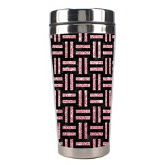 Woven1 Black Marble & Pink Glitter (r) Stainless Steel Travel Tumblers by trendistuff
