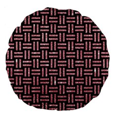 Woven1 Black Marble & Pink Glitter (r) Large 18  Premium Flano Round Cushions by trendistuff