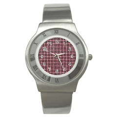 Woven1 Black Marble & Pink Glitter Stainless Steel Watch by trendistuff