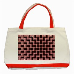 Woven1 Black Marble & Pink Glitter Classic Tote Bag (red) by trendistuff