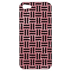 Woven1 Black Marble & Pink Glitter Apple Iphone 5 Hardshell Case by trendistuff