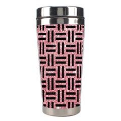 Woven1 Black Marble & Pink Glitter Stainless Steel Travel Tumblers by trendistuff