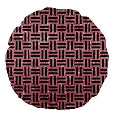 Woven1 Black Marble & Pink Glitter Large 18  Premium Flano Round Cushions by trendistuff