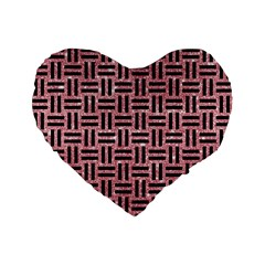 Woven1 Black Marble & Pink Glitter Standard 16  Premium Flano Heart Shape Cushions by trendistuff