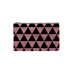 Triangle3 Black Marble & Pink Glitter Cosmetic Bag (small)  by trendistuff