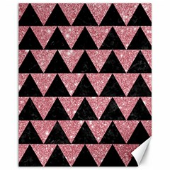 Triangle2 Black Marble & Pink Glitter Canvas 11  X 14