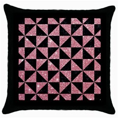 Triangle1 Black Marble & Pink Glitter Throw Pillow Case (black) by trendistuff