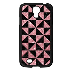 Triangle1 Black Marble & Pink Glitter Samsung Galaxy S4 I9500/ I9505 Case (black) by trendistuff