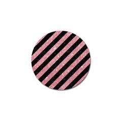 Stripes3 Black Marble & Pink Glitter (r) Golf Ball Marker (10 Pack) by trendistuff