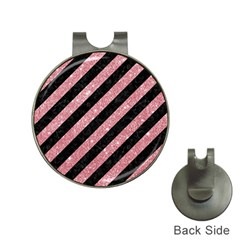 Stripes3 Black Marble & Pink Glitter (r) Hat Clips With Golf Markers by trendistuff