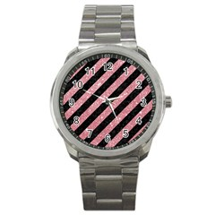 Stripes3 Black Marble & Pink Glitter (r) Sport Metal Watch by trendistuff