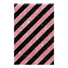 Stripes3 Black Marble & Pink Glitter (r) Shower Curtain 48  X 72  (small)  by trendistuff
