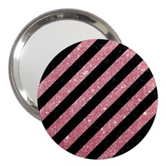 Stripes3 Black Marble & Pink Glitter (r) 3  Handbag Mirrors by trendistuff