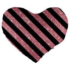Stripes3 Black Marble & Pink Glitter Large 19  Premium Flano Heart Shape Cushions by trendistuff