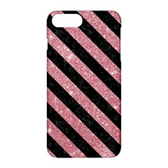 Stripes3 Black Marble & Pink Glitter Apple Iphone 8 Plus Hardshell Case by trendistuff