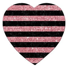 Stripes2black Marble & Pink Glitter Jigsaw Puzzle (heart) by trendistuff