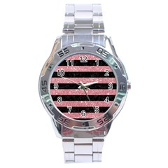 Stripes2black Marble & Pink Glitter Stainless Steel Analogue Watch by trendistuff