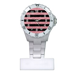Stripes2black Marble & Pink Glitter Plastic Nurses Watch by trendistuff