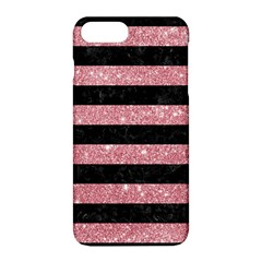 Stripes2black Marble & Pink Glitter Apple Iphone 8 Plus Hardshell Case by trendistuff