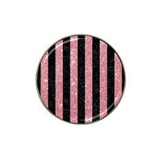 Stripes1 Black Marble & Pink Glitter Hat Clip Ball Marker (4 Pack) by trendistuff