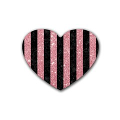 Stripes1 Black Marble & Pink Glitter Heart Coaster (4 Pack)