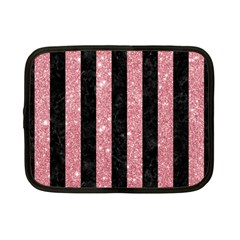 Stripes1 Black Marble & Pink Glitter Netbook Case (small)  by trendistuff