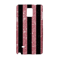Stripes1 Black Marble & Pink Glitter Samsung Galaxy Note 4 Hardshell Case by trendistuff