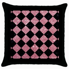 Square2 Black Marble & Pink Glitter Throw Pillow Case (black) by trendistuff