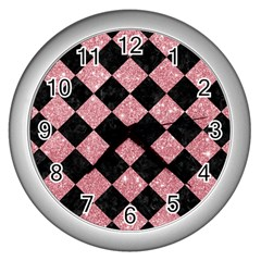 Square2 Black Marble & Pink Glitter Wall Clocks (silver)  by trendistuff