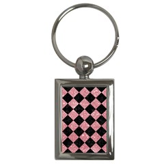 Square2 Black Marble & Pink Glitter Key Chains (rectangle)  by trendistuff