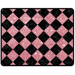 Square2 Black Marble & Pink Glitter Double Sided Fleece Blanket (medium)  by trendistuff