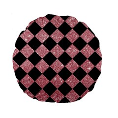 Square2 Black Marble & Pink Glitter Standard 15  Premium Flano Round Cushions by trendistuff