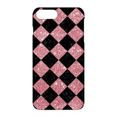 Square2 Black Marble & Pink Glitter Apple Iphone 8 Plus Hardshell Case by trendistuff