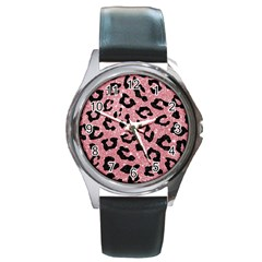 Skin5 Black Marble & Pink Glitter (r) Round Metal Watch