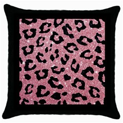 Skin5 Black Marble & Pink Glitter (r) Throw Pillow Case (black) by trendistuff