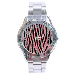 Skin4 Black Marble & Pink Glitter (r) Stainless Steel Analogue Watch by trendistuff